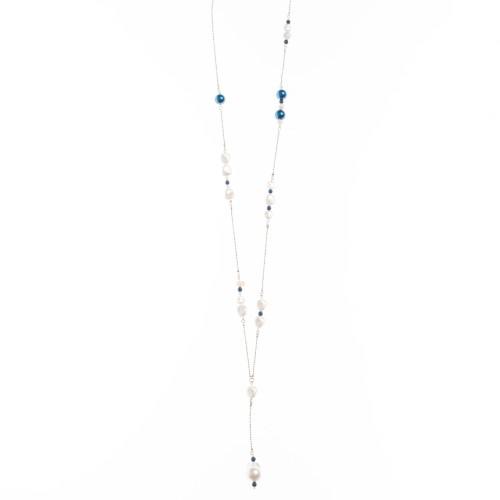 Κολιέ με λευκή και μπλε πέρλα