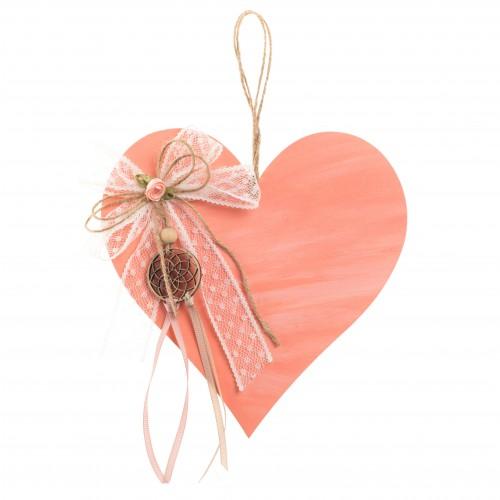Ξύλινη διακοσμητική καρδιά με ονειροπαγίδα