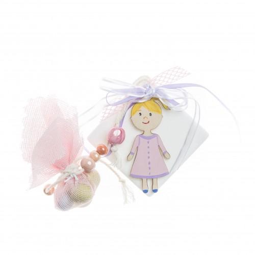 Μπομπονιέρα μάρμαρο με ζωγραφιστό κοριτσάκι B0382-80