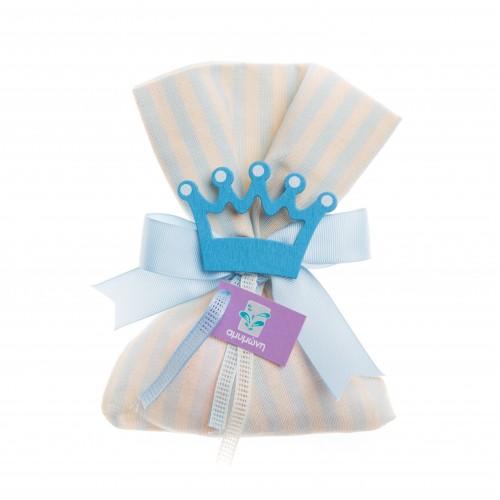 Μπομπονιέρα πουγκί κορώνα γαλάζια B0392-20