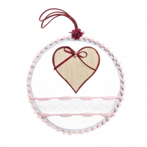 Διακοσμητικό τελάρο με ξύλινη καρδιά ζωγραφισμένη